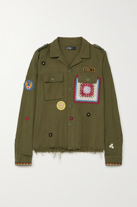 Amiri Crochet-trimmed Appliqued Cotton And Cashmere-blend Shirt - Green