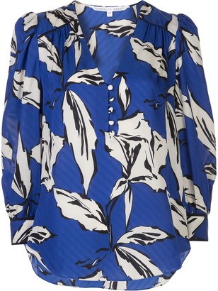 Veronica Beard Leaf Print Blouse
