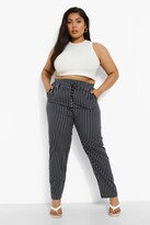 Thumbnail for your product : boohoo Plus Woven Stripe Tapered Elasticated Joggers