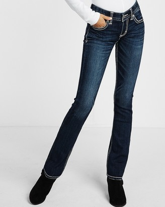 Express Low Rise Thick Stitch Barely Boot Jeans
