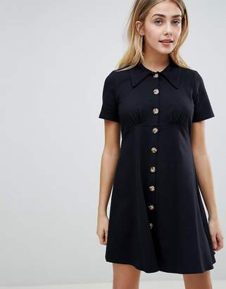Asos Design DESIGN polo shirt dress with faux tortoiseshell buttons-Black