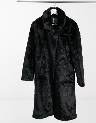 Urban Code Urbancode longline faux fur coat in black