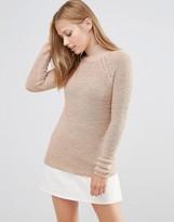 Vila High Neck Knit Sweater in Tan