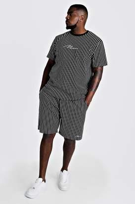 BoohoomanBoohooMAN Mens Navy Big & Tall MAN T-Shirt & Short Set, Navy