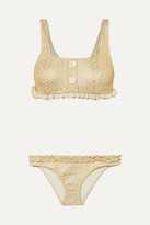 Lisa Marie Fernandez Colby Ruffled Metallic Seersucker Bikini - Gold