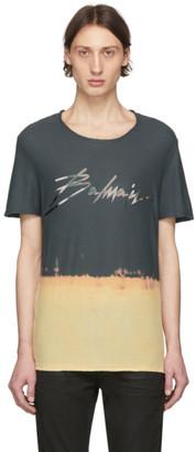 Balmain Grey and Beige Tie-Dye Signature Logo T-Shirt