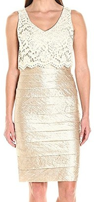 London Times Women's Petite Shimmer Shutter Sheath Dress with Crop Lace Overlay