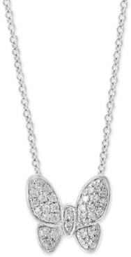 """Effy Diamond Pave Butterfly 18"""" Pendant Necklace (1/10 ct. t.w.) in Sterling Silver"""