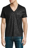Just Cavalli Tonal Leopard V-Neck T-Shirt, Black