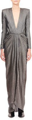 Redemption Shimmer Silk Deep-V Gathered Waist Dress