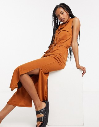 Object maxi shirt dress with pocket detail and side splits in rust