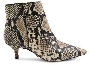 Kensie Damiana Snakeskin-Print Leather Booties