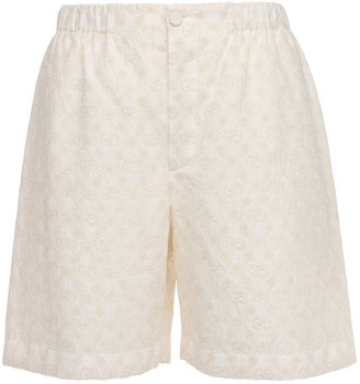 Gucci Gg Embroidery Cotton Lace Shorts