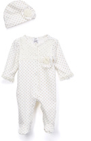 Baby Essentials Ivory Dot Lace Footie & Beanie - Infant