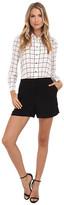 Vince Camuto Windowpane Romper w/ Solid Crepe Shorts