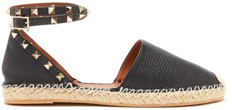 Valentino Rockstud Wraparound Leather Espadrilles - Womens - Black