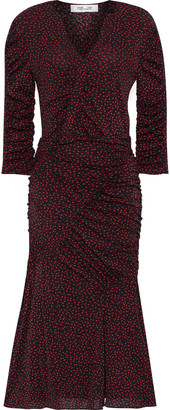 Diane von Furstenberg Becca Ruched Printed Mesh Dress