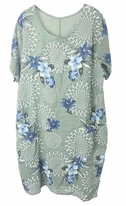 Celeb Look M97 Celebmodelook Italian Floral Midi Dress Short Sleeves Maxi Cotton Plus Size Dress Lime