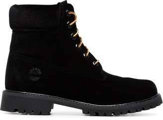 Off-White Off White x timberland velvet boots black