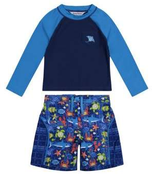Tommy Bahama Little Boy's 2-Piece Under The Sea Rashguard & Swim Trunks Set