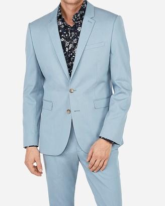 Express Extra Slim Light Blue Cotton Blend Stretch Suit Jacket