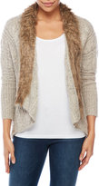 XOXO Faux Fur Collar Cable Cardigan