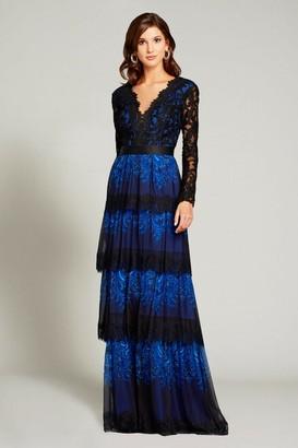 Tadashi Shoji Long Sleeve Tiered Evening Gown