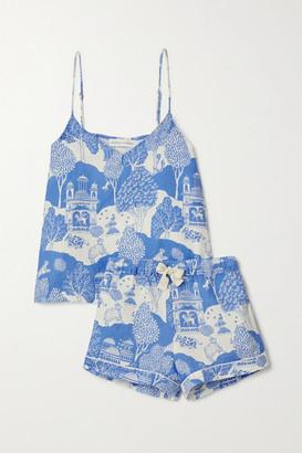 Desmond & Dempsey India Printed Linen Pajama Set - Blue