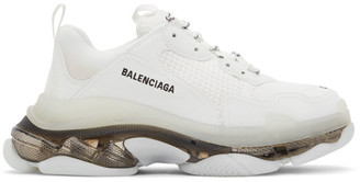 Balenciaga White and Black Clear Sole Triple S Sneakers
