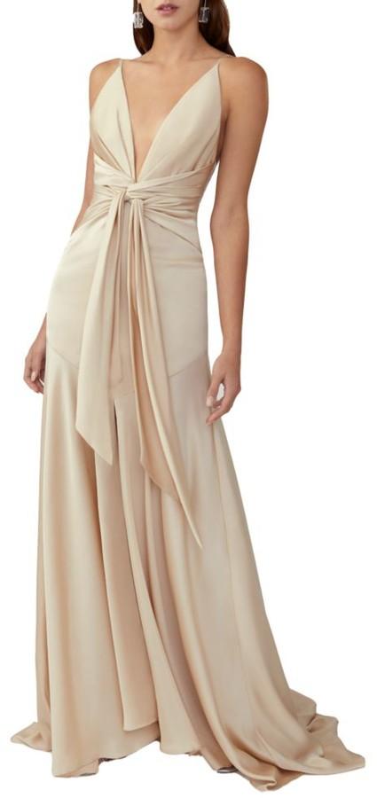 Fame & Partners Lake Draped Satin Gown