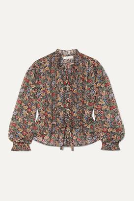 DÔEN Cezanne Belted Floral-print Cotton-voile Blouse - Black
