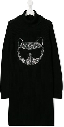 Karl Lagerfeld Paris Cat knitted roll neck dress
