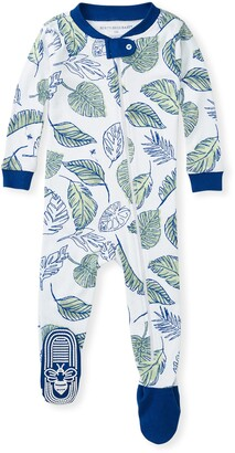 Burt's Bees Jungle Canopy Organic Baby Zip Front Snug Fit Footed Pajamas