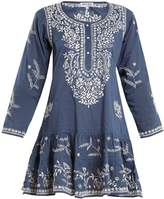 Juliet Dunn Round-neck embroidered cotton kaftan