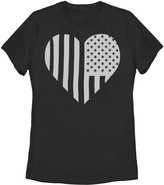 Unbranded Juniors' American Flag Heart Teal Faded Graphic Tee