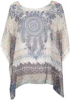 Izabel London Short Sleeve Boho Printed Blouse Top