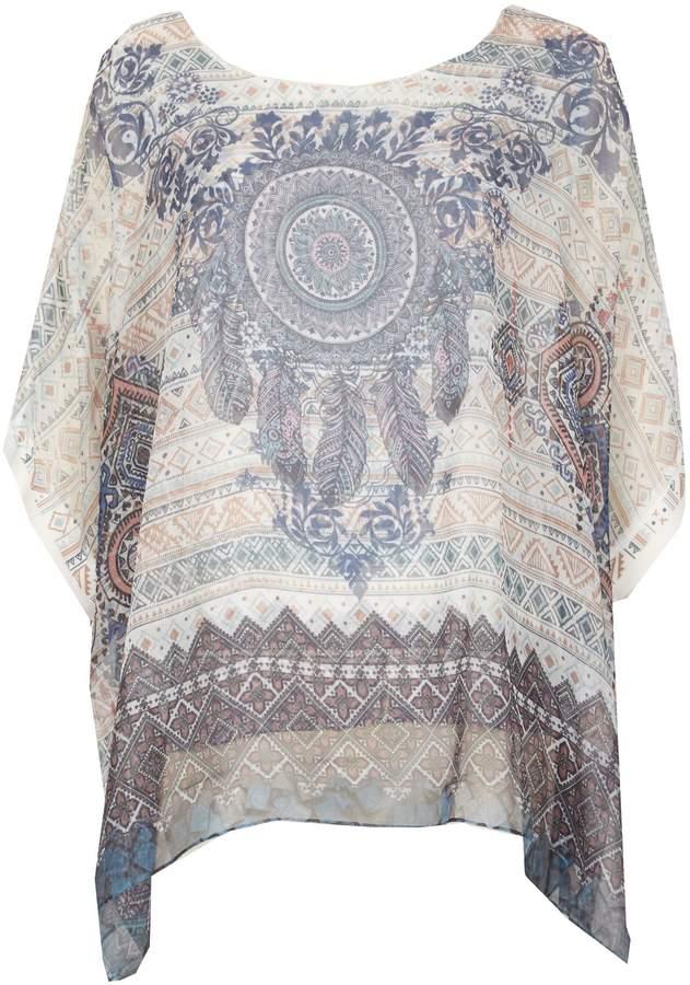 Izabel London Short Sleeve Boho Printed Blouse Top