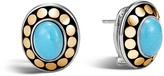 John Hardy Sterling Silver and 18K Bonded Gold Dot Earrings with Turquoise