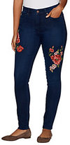 Martha Stewart As Is Regular Floral Embroidered 5- Pkt Ankle Jeans