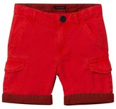 Ikks Red Cargo Shorts with Patterned Turn Up