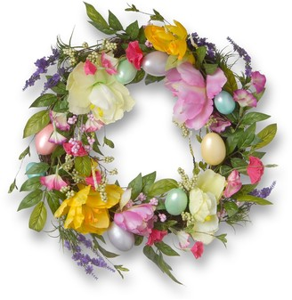 """National Tree Company 20"""" Artificial Tulip & Easter Egg Wreath"""