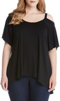 Karen Kane Plus Size Women's Flutter Cold Shoulder Top