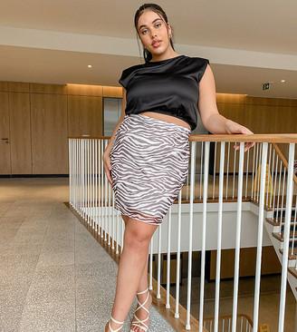 Rokoko Plus mesh mini skirt in brown zebra mesh co