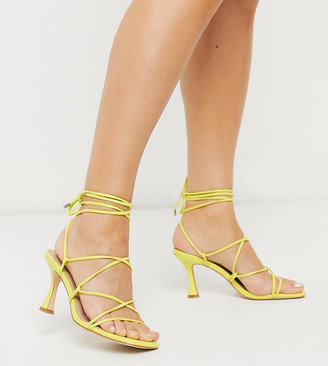 Co Wren Wide Fit strappy mid heel sandals in yellow