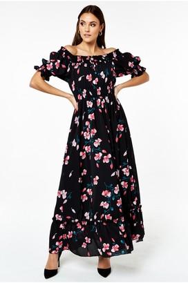 Gini London Black Floral Print Bardot Smock Maxi Dress