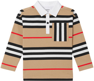 Burberry Boy's Cuthbert Icon Stripe Collared Shirt, Size 3-14