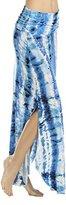 Three Dots Women's Tie Dye Print Curved Hem Maxi Skirt with Side Slits