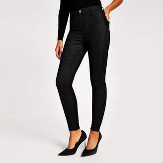 River Island Womens Black glitter Kaia high rise disco jeans