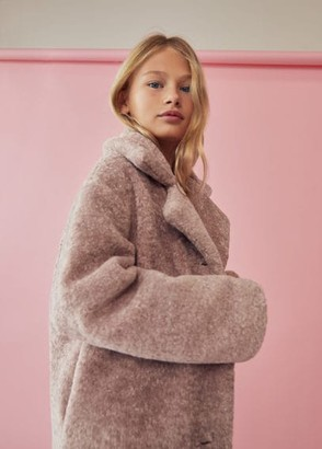 MANGO Lapels faux fur coat