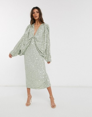 ASOS EDITION kimono sleeve drape back sequin midi dress